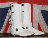 FRINGE Cowboy Boots - White Leather - Southwestern - Women's 7 - 7.5 - 1980s - VINTAGE