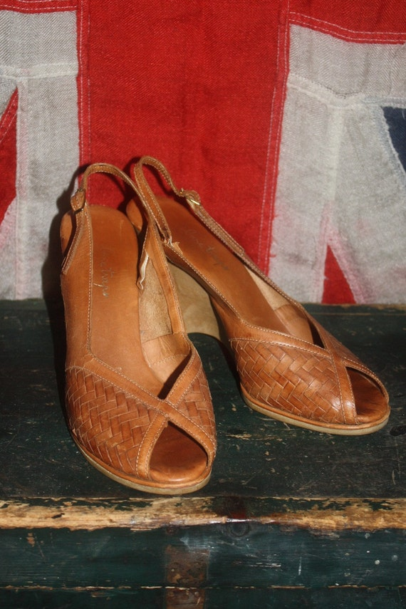 VTG Wedge Heel Leather Peeptoes 7.5 - 8