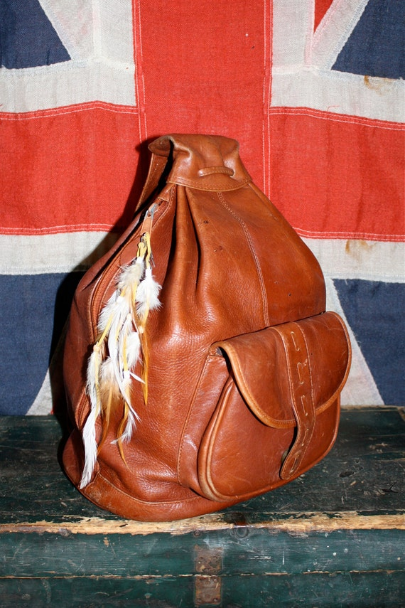 VTG 70s GORGEOUS Cherry Brown Leather Backpack