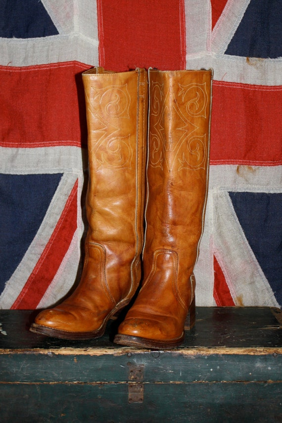 VTG 60s TALL Detailed Golden Brown Leather Campus Boots Women's 8