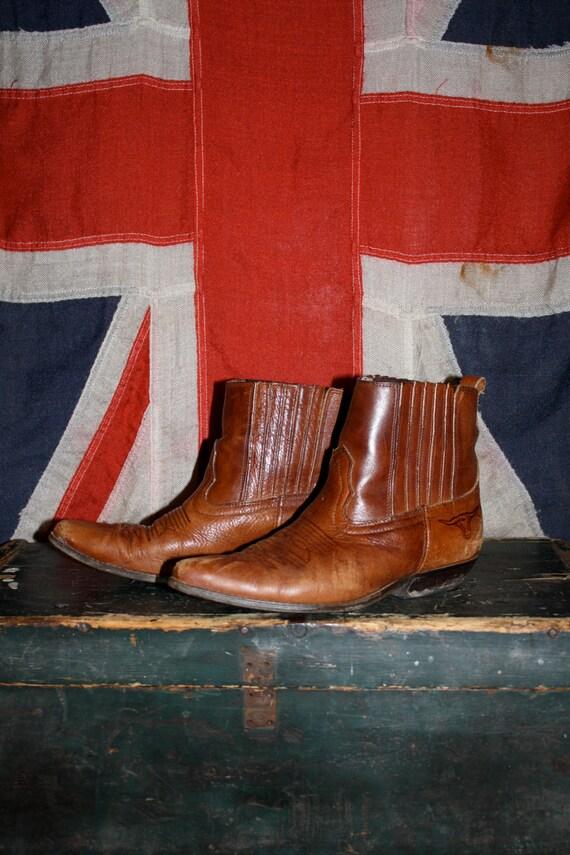 VTG ADORABLE 70s Short Brown Leather Roper Cowboy Boots Women's 7.5