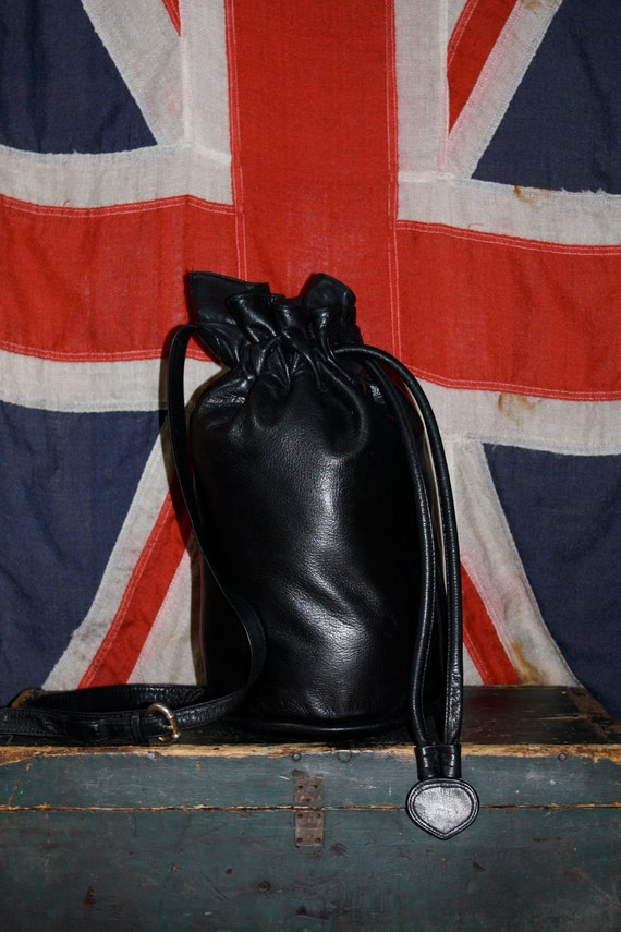 Leather Backpack - Black Drawstring - ROCKER - 1970s - VINTAGE