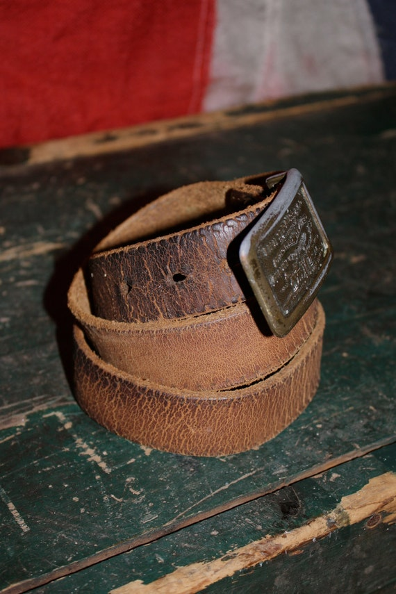LEVI Strauss & Co. Belt - Leather Brown - Distressed Men's or Women's XS S M - 1980s - VINTAGE
