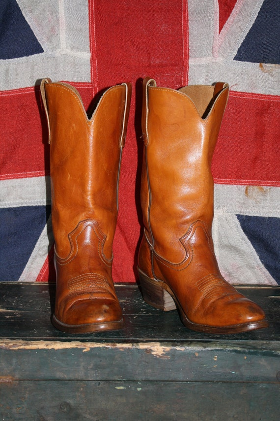 Cowboy Boots - Brown Leather THICK Orange - GORGEOUS - Women's 9-9.5 - 1960s - VINTAGE