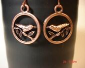 Copper Bird On A Branch Charm  Earrings SALE SALE SALE