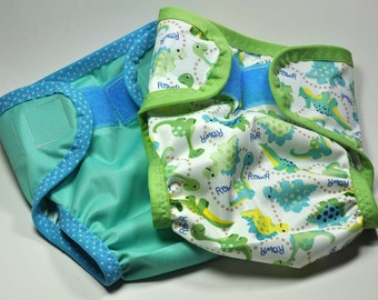 READY TO SHIP -- Diaper Cover Set, Babyville Boutique Dinos - size L