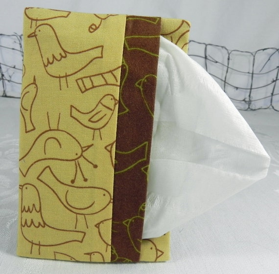 Pocket Tissue Holder for Purse, Backpack, Travel: Yellow Brown Birds
