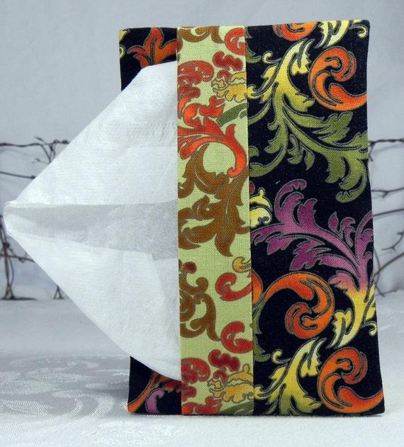 Pocket Tissue Holder for Purse, Backpack, Travel:  Black Green Orange