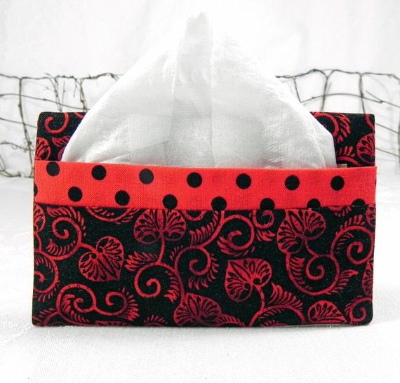 Pocket Tissue Holder - Stocking Stuffer - for Purse, Backpack, Travel  Red & Black