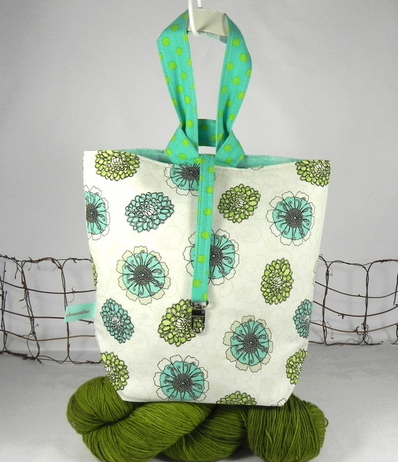 Knitting Project Tote Bag: Blue & Green Flowers- A Loopy Lulu Bag