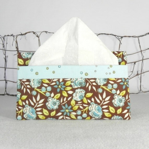 Pocket Tissue Holder for Purse, Backpack, Travel: Chocolate Brown with Sweet Blue Flowers