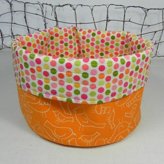 Reversible Fabric Bowl: Orange Birds & Polka Dot Yarn Bowl