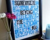 "Letterpress Personalised ""Somewhere Beyond The Sea"" Print"