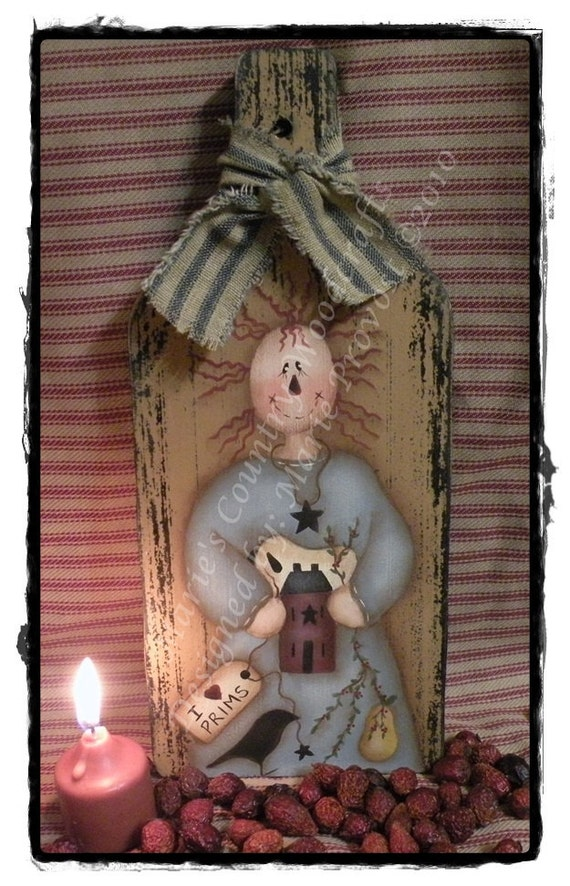 Hand painted PDF pattern primitive wood bread board raggedy annie,doll, sheep, crow, star, saltbox house, pear e-pattern 00034