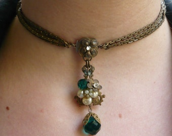 Miriam Haskell Necklace Earrings / Signed 1940s Haskell Choker / Pearls, Rhinestones, Green Stones Set