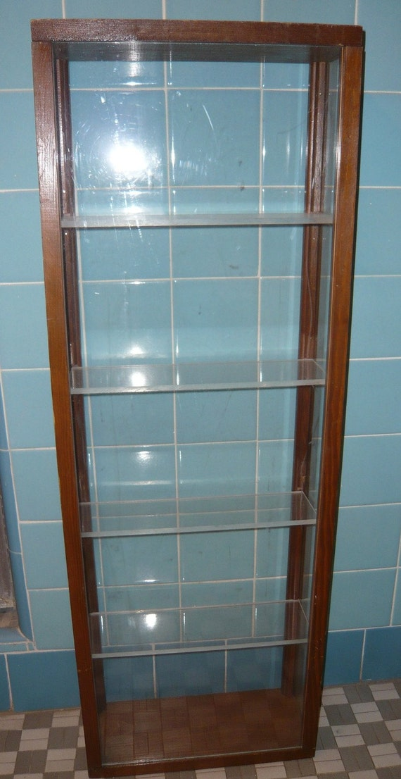 Vintage tall but narrow wood display case with 5 shelves 4 - Salt and pepper shaker display case ...