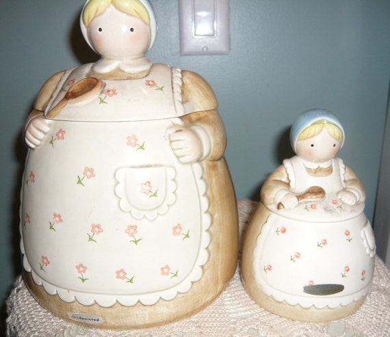 Vintage Otagiri Farmer Wife Cookie Jar Mini Mom Identical Jar