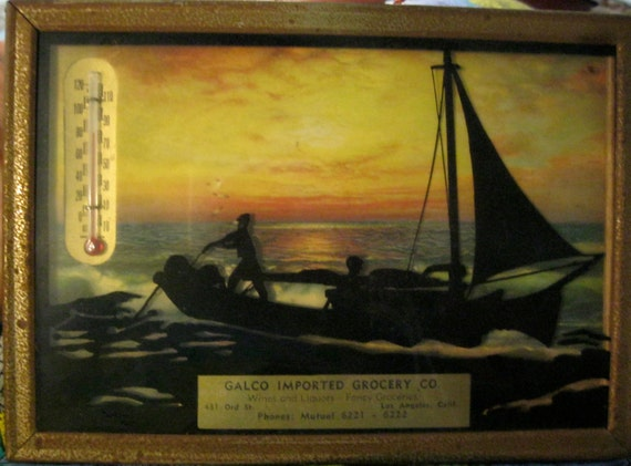 50s Advertising Silhouette Picture, Sailboats with Thermometer, small, sweet, pretty