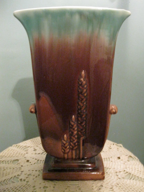 RESERVED FOR Mike Art Deco Vase, Tall Brown Green Watercolor  Stunning, VG cond