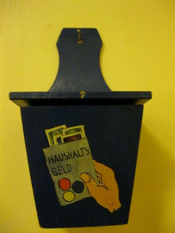 40s Salt Box Matchbook Holder,Cash Stash  for the wall, Handpainted German saying