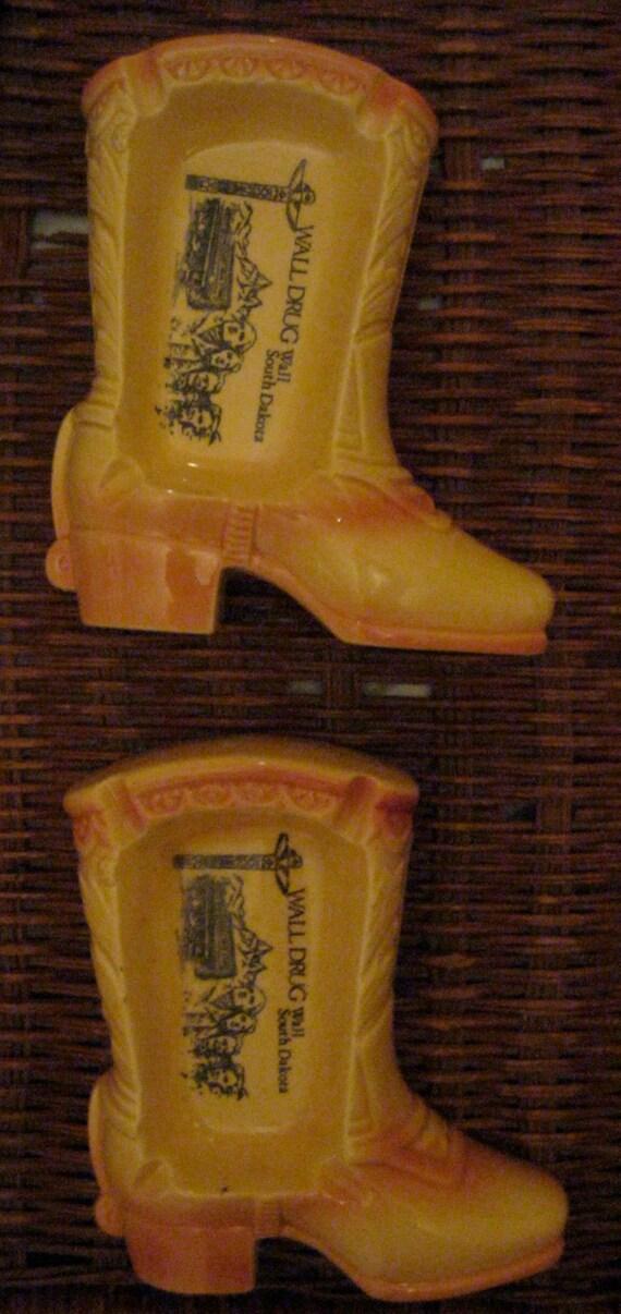 Vintage Advertising Ashtrays / Cowboy Boots / Wall Drug, Wall, South Dakota, made in Japan