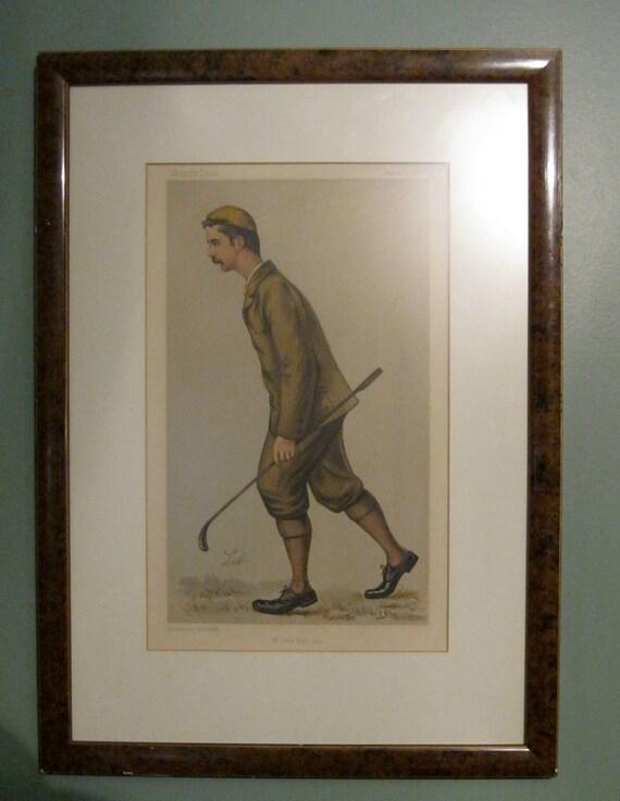 Original Vanity Fair Print Mr. John Ball Jr. 1892, Golfer Framed, Rare, Cert Authenticity