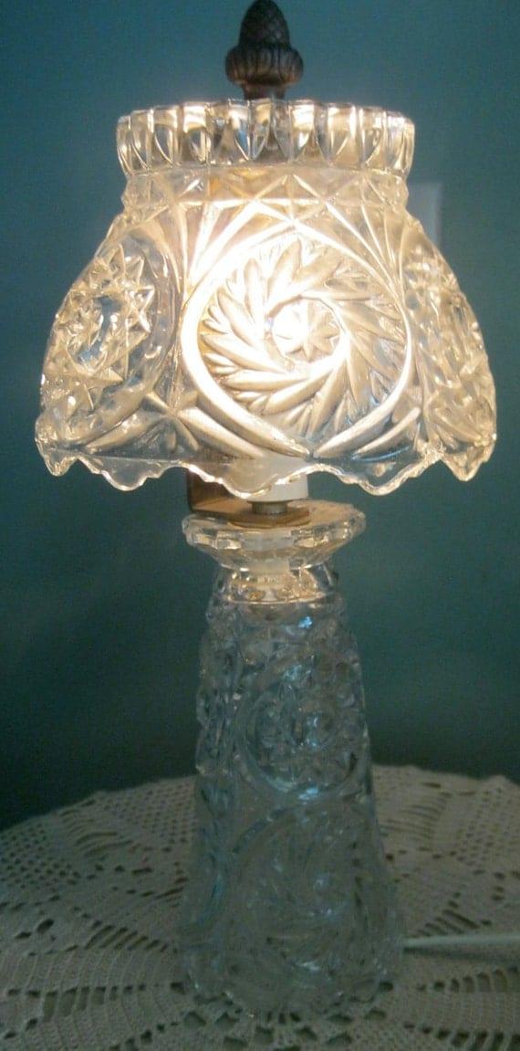 50s Crystal Boudoir Lamp, Crystal shade, Bedroom Lamp, Romantic, Shabby Chic