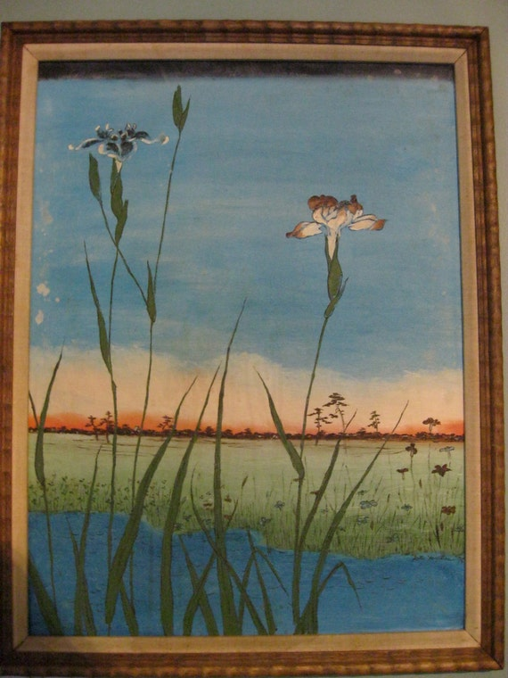 Original Oil Painting, 1979 signed, serene pond, flowers, gorgeous colors, turquiose, light green, rose