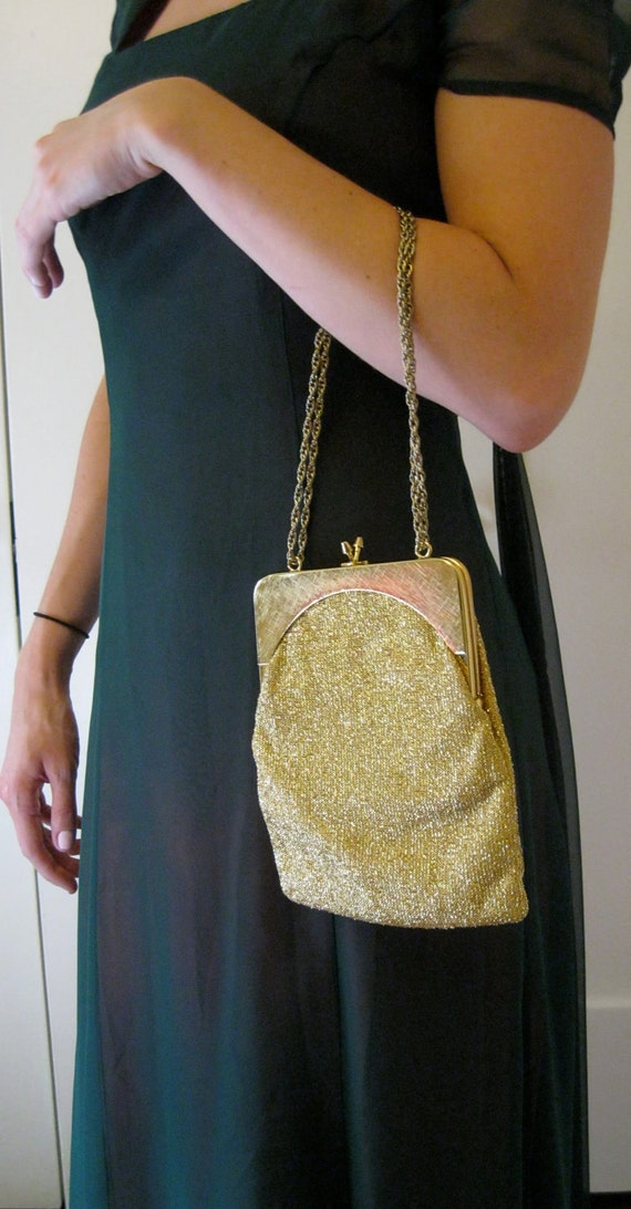 60s Gold Bag / Glitter Evening Purse / Lurex / Harry Levine / Shoulder Dressy Purse / Stunning
