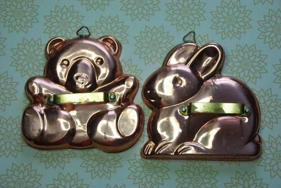 Solid copper cookie cutters Bunny-Rabbit and Bear