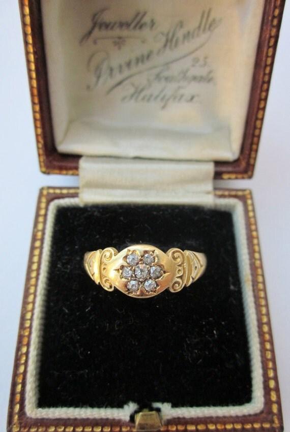 Reserved---SUPER SALE- Antique (1894) Victorian Flower Diamond Cluster Betrothal/Engagement 18K RIng in Original Box
