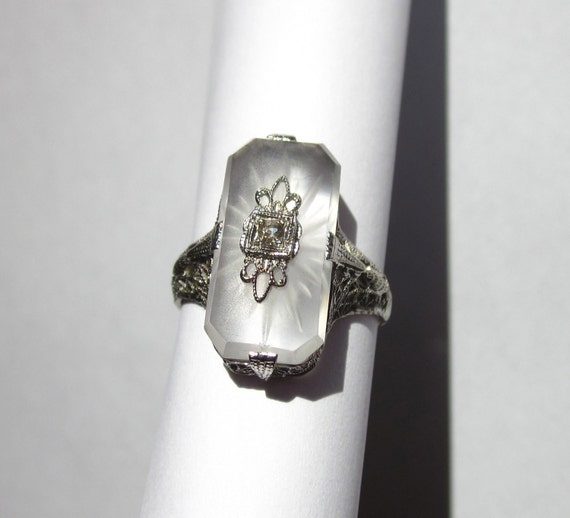 Antique Art Deco BELAIS BROTHERS Camphor and Diamond 14K White Gold Ring