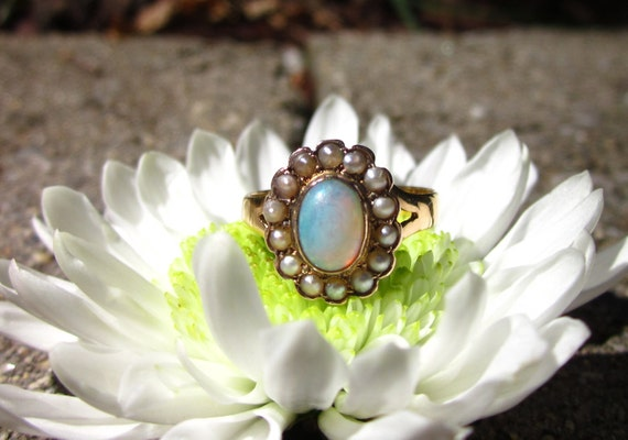 SALE- Antique (1879) Victorian FLOWER Opal and Pearl 22K Ring