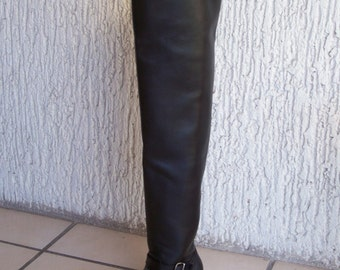 Thigh high custom engineer boots 30 inches high shafts hand made