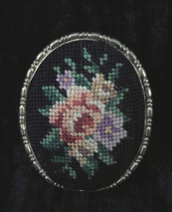 Victorian needlepoint floral brooch