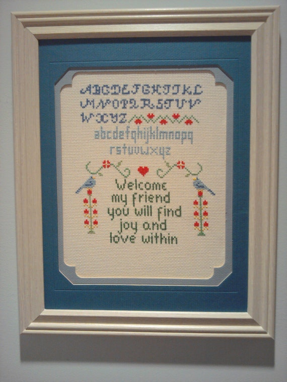"""Creative Circle """"Welcome"""" cross-stitch sampler - completed - 25% OFF"""