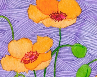 "Limited edition print ""Orange Poppies on purple sea"" signed and numbered"