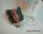 Exclusive Line-(Walking Art Collection) Diva Child, polymer clay, hand drawn, cuff bracelet, multi colored..