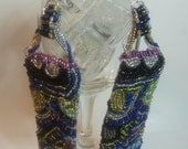 EXCLUSIVE LINE - Abstract designed, hand stitched, large, beadwork dangle earrings, large, bold, urban styled
