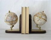 Vintage Replogle Globe World Classic Series Bookends (Pair)