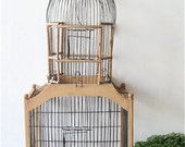 Vintage Tall Wood Wire Birdcage