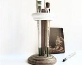 Vintage Wood/Porcelain Toothbrush Holder