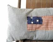 Vintage Ticking Flag Pillow