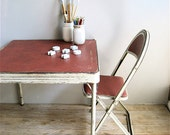 Child's Vintage Metal  Table and Two Metal Chairs