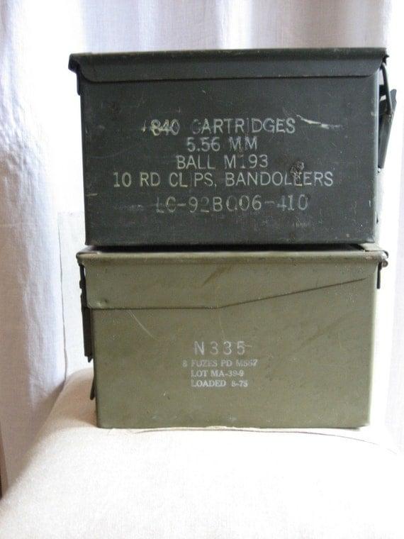 Pair Vintage Military Metal Boxes