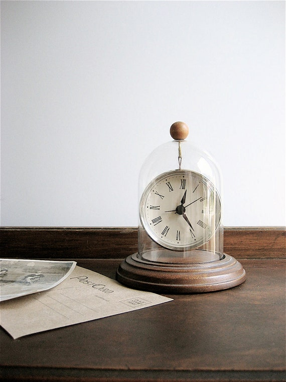 Vintage Upcycled Glass Cloche with Clock