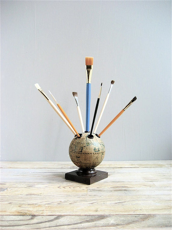 Vintage World Globe Pencil Holder