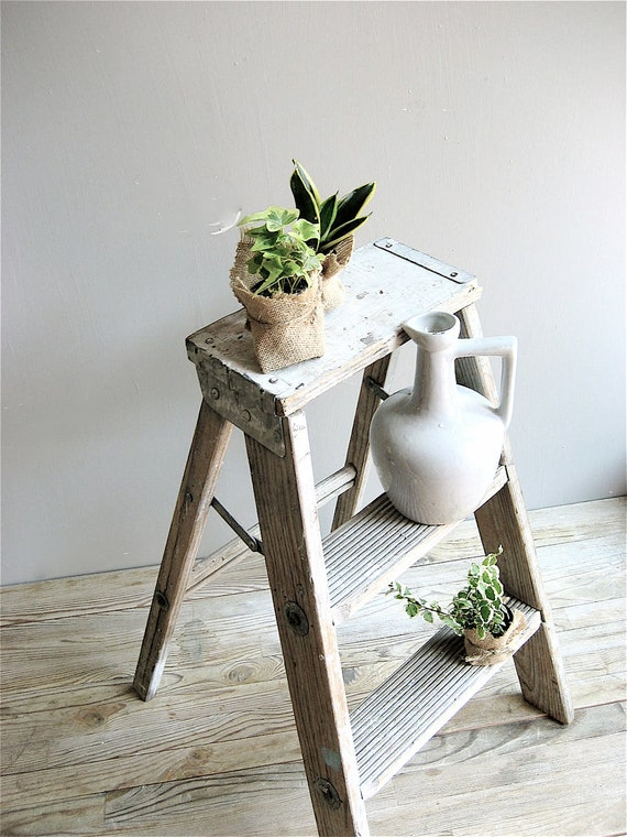 Vintage Weathered Wood Ladder
