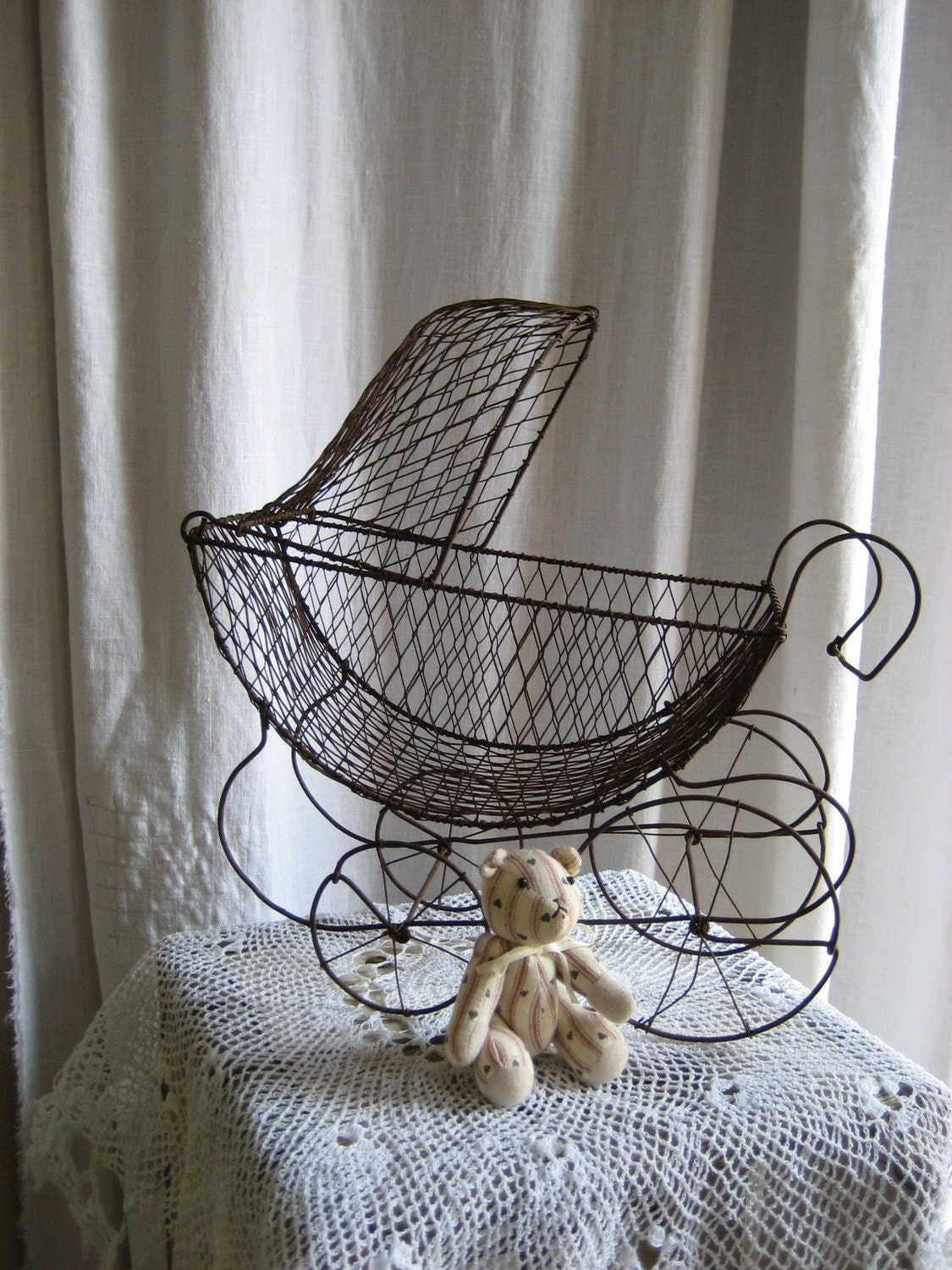 Vintage Large Wire Baby Carriage