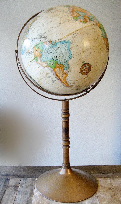 Vintage Replogle World Globe Black Oceans Chrome Base 1948